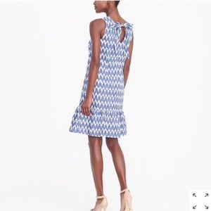 J. Crew Cotton Lined Chevron Bow Back Dress